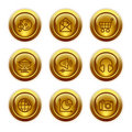 Gold button web icons, set 5 Stock Image