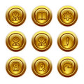 Gold button web icons, set 6 Stock Photo
