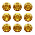 Gold button web icons, set 7 Royalty Free Stock Image