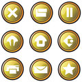 Gold buttons for website design Royalty Free Stock Image