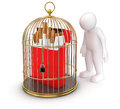 Gold cage with cigarette pack and man clipping path included image Stock Photography
