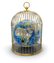 Gold cage with globe clipping path included image Royalty Free Stock Image