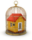 Gold cage with house clipping path included image Royalty Free Stock Photography