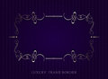 Gold calligraphic luxury frame border on violet background. vect
