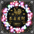 Gold Calligraphy 2017. Happy Chinese new year of the Rooster. vector concept spring. black backgroud pattern. luminous color garla Royalty Free Stock Photo