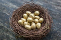 Gold candy easter eggs in birds nest Royalty Free Stock Photo