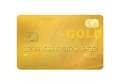 Gold card credit debit with world map on the background isolated on a white background with clipping path Stock Photography