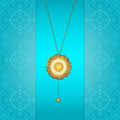 Gold chain beautiful blue background with a Stock Images