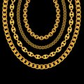 Gold Chain Jewelry on Black Background. Vector Illustration