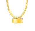 Gold Chain Jewelry Whith Gold Pendants. Vector Royalty Free Stock Photo