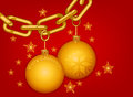 Gold chain merry christmas beautiful glossy on a red background Royalty Free Stock Photo