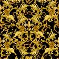 Gold chains damask seamless luxury design. golden Lions pattern. vintage riches lace background. watercolor fleur-de-lis illustrat