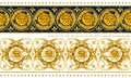 Gold chains seamless border. luxury illustration. golden Lion head and lace. damask pattern design. vintage riches background. Royalty Free Stock Photo