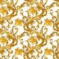 Gold chains seamless pattern. luxury illustration. golden love design. luxury jewelry.