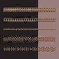 Gold chains set of seamless border patterns jewelry on black Stock Image