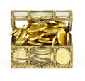 Gold chest of money on white Royalty Free Stock Photos