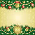 Gold christmas background with bells is presented Stock Photography