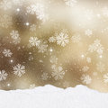 Gold Christmas background with mounds of snow Royalty Free Stock Photo