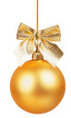 Silvery decorations Christmas ball hanging on golden braid Isolated