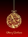 Gold Christmas Ball On Red Bac...
