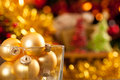 Gold Christmas balls Royalty Free Stock Image