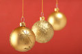 Gold Christmas Balls Stock Image