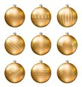 Gold christmas balls isolated on white background. Photorealistic high quality vector set of christmas baubles.