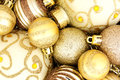 Gold Christmas bauble background Royalty Free Stock Photo