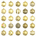 Gold christmas baubles big back 25 Stock Photos