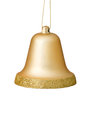 Gold Christmas Bell Ornament On White Background. Royalty Free Stock Photo