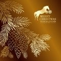 Gold christmas fir and pinecone vector illustration Royalty Free Stock Images