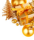 Gold christmas gift with balls Stock Photos