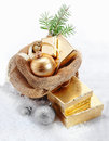 Gold Christmas gifts Royalty Free Stock Photo