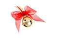Gold Christmas Jingle Bell With Red Bow Stock Photos