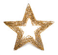 Gold christmas star isolated on white background Royalty Free Stock Image