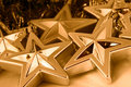 Gold Christmas stars Royalty Free Stock Photography
