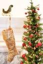 Gold Christmas stocking Stock Image