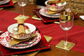Gold Christmas table Stock Images