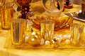 Gold christmas table decorations Royalty Free Stock Photo