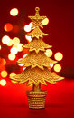 Gold christmas tree Stock Image