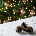 Gold Christmas Tree Pine Cones Royalty Free Stock Photo