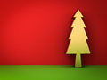 Gold christmas tree on red and green background with shadow for christmas decoration Royalty Free Stock Photo
