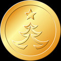 Gold Christmas Tree Token Stock Photos