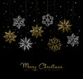 Gold Christmas winter decoration greeting card