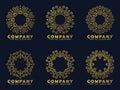 Gold circle flower line art for logo and frame vector set design