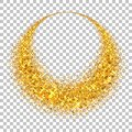 Gold circle. Light glitter effect. Golden ring, isolated white transparent background. Ellipse magic element. Foil Royalty Free Stock Photo