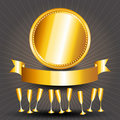Gold circle sign, cups and ribbon banner Stock Photo