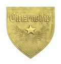 Gold Citizenship Shield Royalty Free Stock Photo