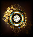 Gold clock with gold rose Royalty Free Stock Photo
