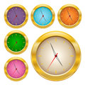 Gold clock set Stock Photo